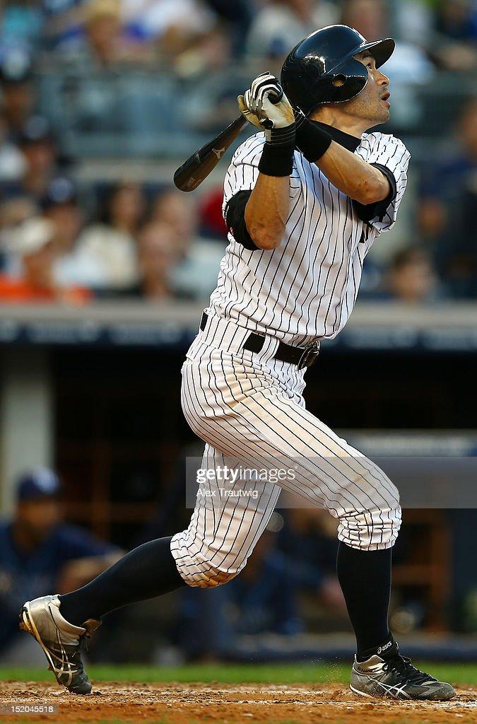 Ichiro Suzuki #31 of the New York Yankees takes a swing against the Tampa Bay Rays on September 15, 2012 at Yankee Stadium in the Bronx borough of New York City.