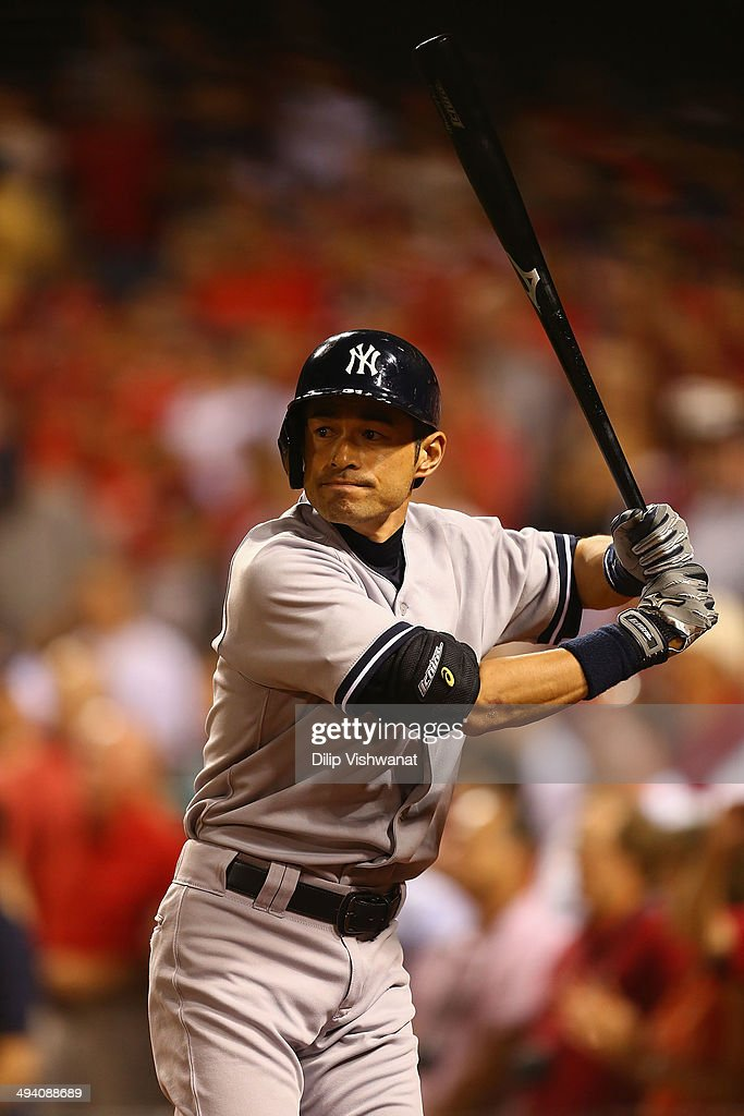 Ichiro Suzuki #31 of the New York Yankees waits on deck to bat against the St. Louis Cardinals in the ninth inning at Busch Stadium on May 27, 2014 in St. Louis, Missouri. The game ended before Suzuki had a chance to bat. The Cardinals beat the Yankees 6-0.