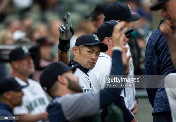 Ichiro Suzuki of the Seattle Mariners acknowledges from the dugout fans before a game against the Oakland Athletics at Safeco Field on May 3 2018 in...