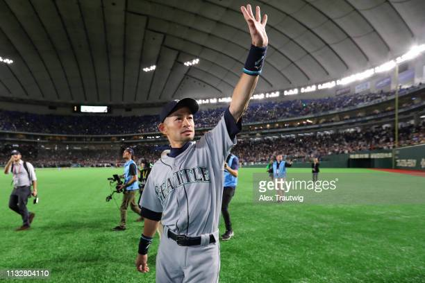 Ichiro Suzuki of the Seattle Mariners acknowledges the crowd following a game against the Oakland Athletics during the 2019 Opening Series at the...