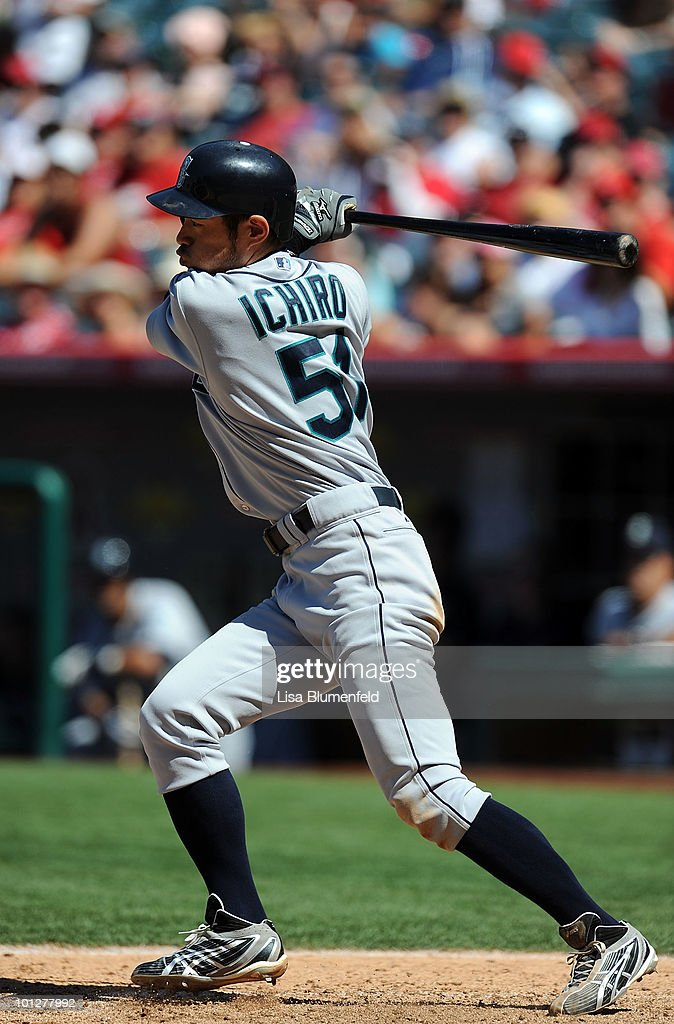 Ichiro Suzuki #51 of the Seattle Mariners at bat against the Los Angeles Angels of Anaheim at Angel Stadium of Anaheim on May 29, 2010 in Anaheim, California.