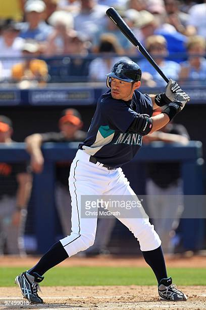 Ichiro Suzuki of the Seattle Mariners at bat against the San Francisco Giants during a spring training game at Peoria Sports Complex on March 3 2010...