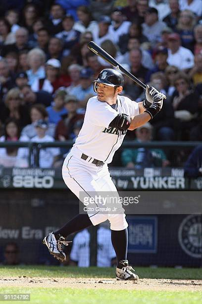 Ichiro Suzuki of the Seattle Mariners at bat during the game against the New York Yankees on September 20, 2009 at Safeco Field in Seattle,...