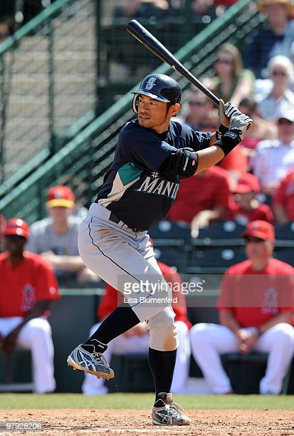 Ichiro Suzuki of the Seattle Mariners at bat during the game against the Los Angeles Angels of Anaheim on March 21 2010 at Tempe Diablo Stadium in...
