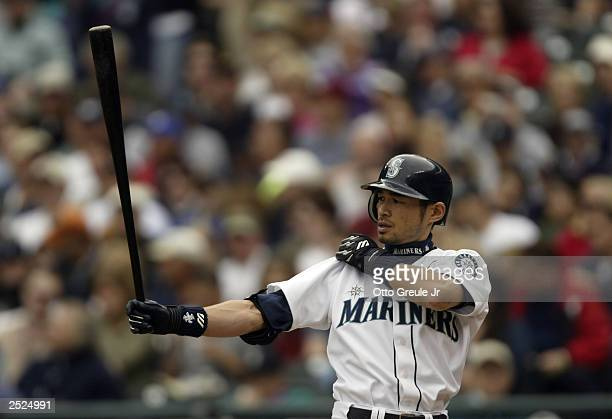 Ichiro Suzuki of the Seattle Mariners bats against the Anaheim Angels during the game on September 14 2003 at Safeco Field in Seattle Washington The...