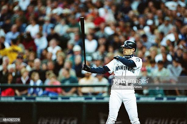 Ichiro Suzuki of the Seattle Mariners bats against the Detroit Tigers at Safeco Field on July 29 2002 in Seattle Washington The Mariners defeated the...