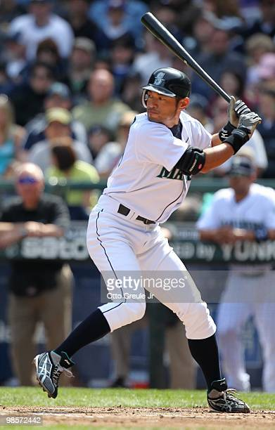 Ichiro Suzuki of the Seattle Mariners bats against the Detroit Tigers at Safeco Field on April 18 2010 in Seattle Washington