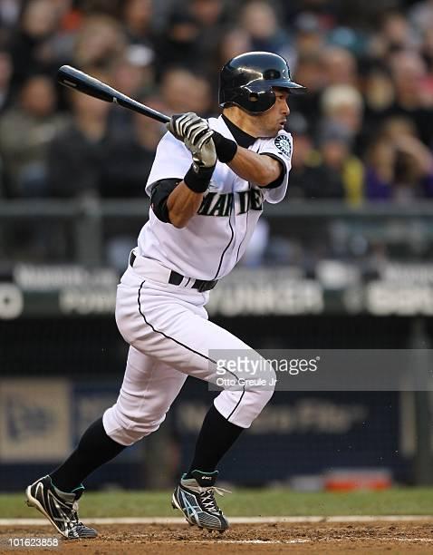 Ichiro Suzuki of the Seattle Mariners bats against the Minnesota Twins at Safeco Field on June 2 2010 in Seattle Washington