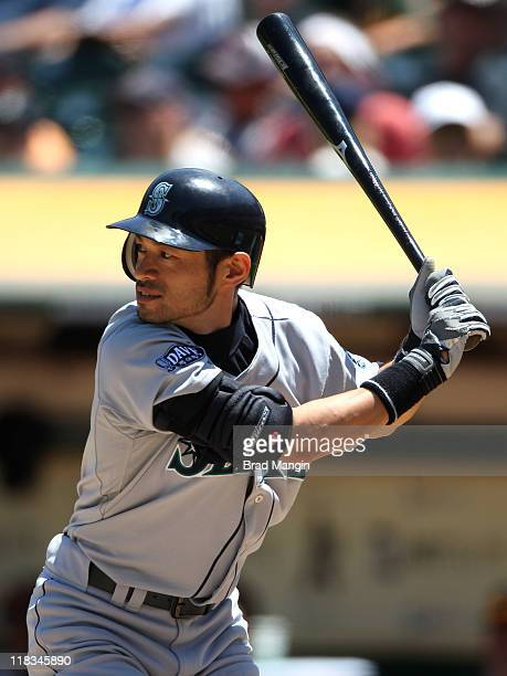 Ichiro Suzuki of the Seattle Mariners bats against the Oakland Athletics during the game at the OaklandAlameda County Coliseum on July 6 2011 in...