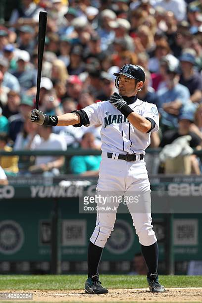 Ichiro Suzuki of the Seattle Mariners bats against the San Francisco Giants during an interleague game at Safeco Field on June 17 2012 in Seattle...
