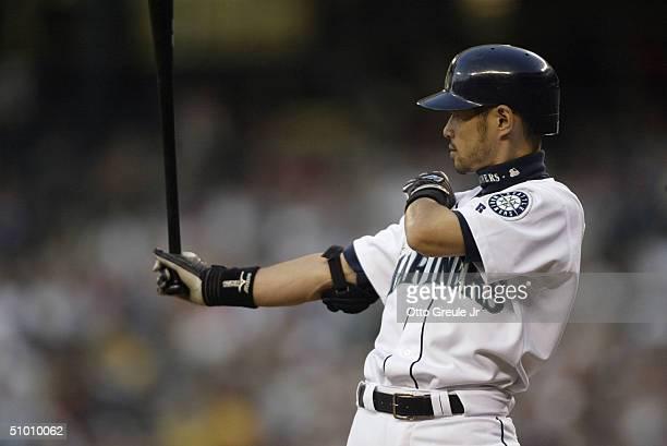 Ichiro Suzuki of the Seattle Mariners bats against the Texas Rangers on June 29 2004 at Safeco Field in Seattle Washington