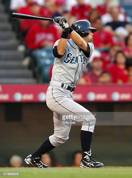 Ichiro Suzuki of the Seattle Mariners bats during 125 victory over the Los Angeles Angels of Anaheim in Major League Baseball game in Anaheim Calif...