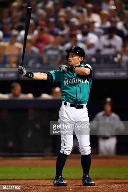 Ichiro Suzuki of the Seattle Mariners bats during a spring training game between Seattle Mariners and Chicago White Sox on March 12 2018 in Peoria...