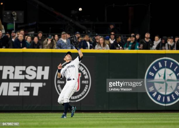 Ichiro Suzuki of the Seattle Mariners catches a fly ball from Evan Gattis of the Houston Astros in the fourth inning at Safeco Field on April 17 2018...