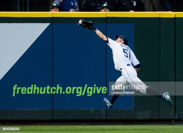Ichiro Suzuki of the Seattle Mariners catches a line drive to left from Matt Chapman of the Oakland Athletics in the second inning at Safeco Field on...