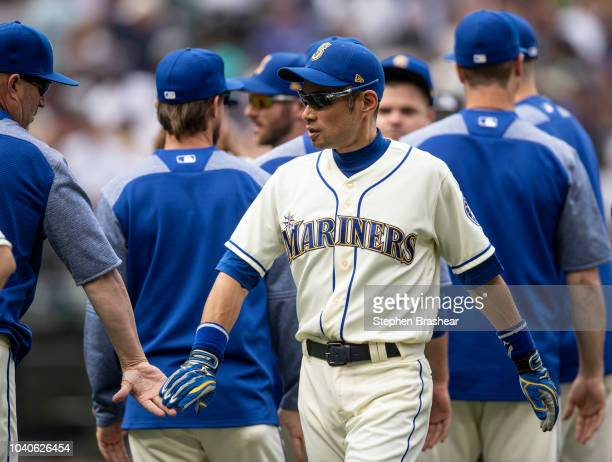 Ichiro Suzuki of the Seattle Mariners celebrates after a game against the New York Yankees at Safeco Field on September 9 2018 in Seattle Washington...