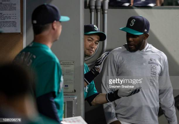 Ichiro Suzuki of the Seattle Mariners claps from the top of the clubhouse steps before a game against the New York Yankees at Safeco Field on...