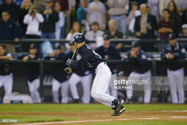 Ichiro Suzuki of the Seattle Mariners collects hit number 258 during the game against the Texas Rangers at Safeco Field on October 1 2004 in Seattle...