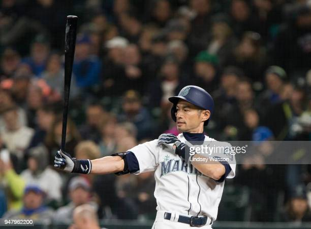 Ichiro Suzuki of the Seattle Mariners comes up to bat in the fifth inning against the Houston Astros at Safeco Field on April 17 2018 in Seattle...