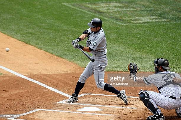 Ichiro Suzuki of the Seattle Mariners connects on a first inning home run against the New York Yankees on August 21 2010 at Yankee Stadium in the...
