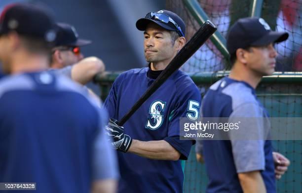 Ichiro Suzuki of the Seattle Mariners during batting practice at Angel Stadium on September 14 2018 in Anaheim California