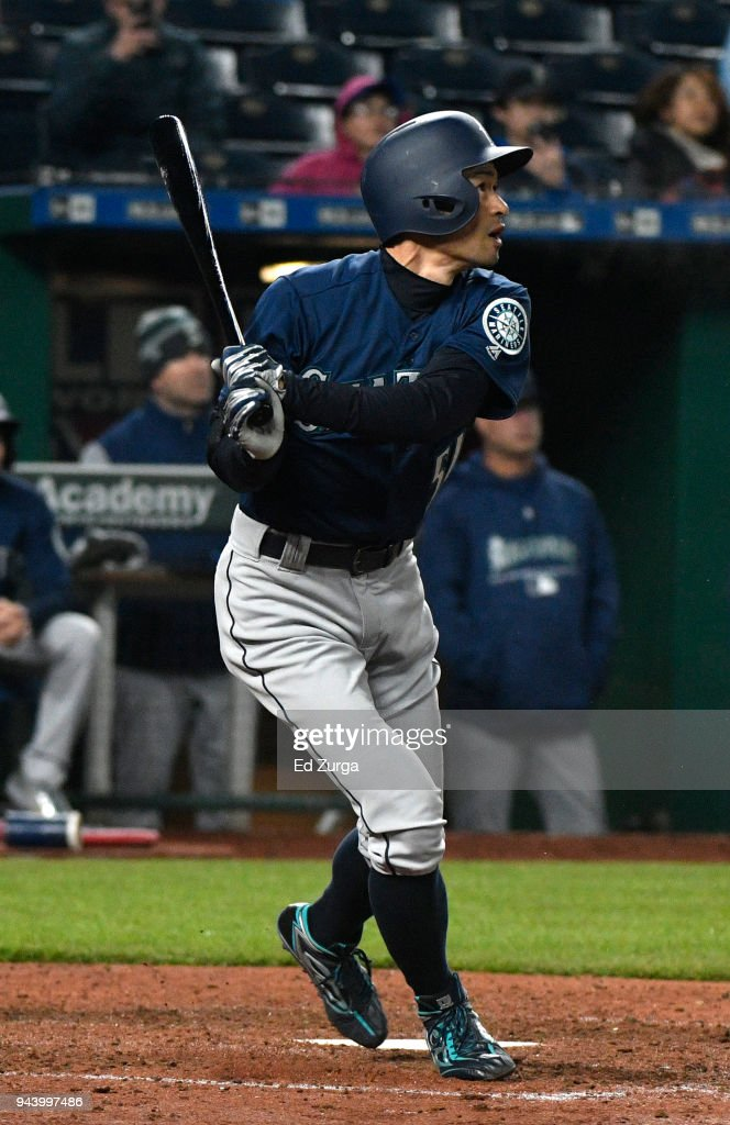 Ichiro Suzuki #51 of the Seattle Mariners flies out in the fifth inning against the Kansas City Royals at Kauffman Stadium on April 9, 2018 in Kansas City, Missouri.
