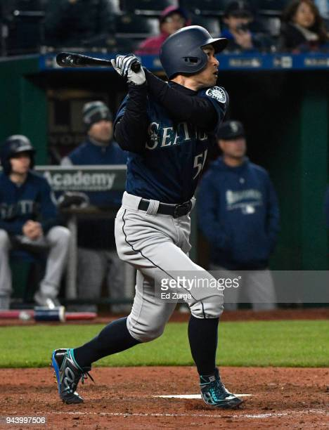 Ichiro Suzuki of the Seattle Mariners flies out in the fifth inning against the Kansas City Royals at Kauffman Stadium on April 9 2018 in Kansas City...