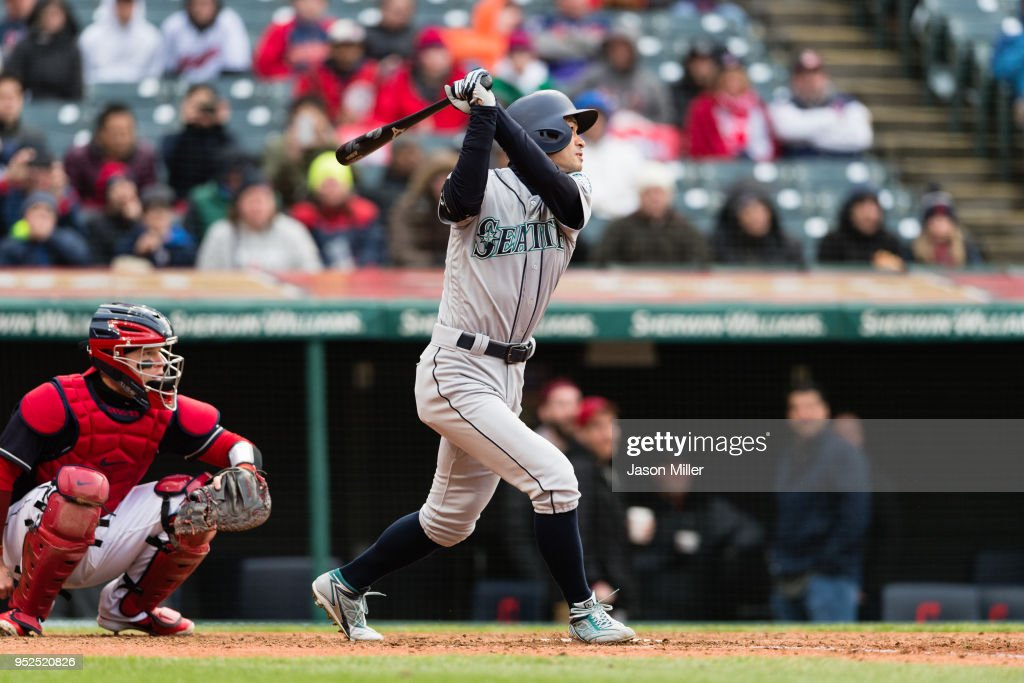 Ichiro Suzuki #51 of the Seattle Mariners flies out to end the top of the ninth inning against the Cleveland Indians at Progressive Field on April 28, 2018 in Cleveland, Ohio. The Mariners defeated the Indians 12-4.