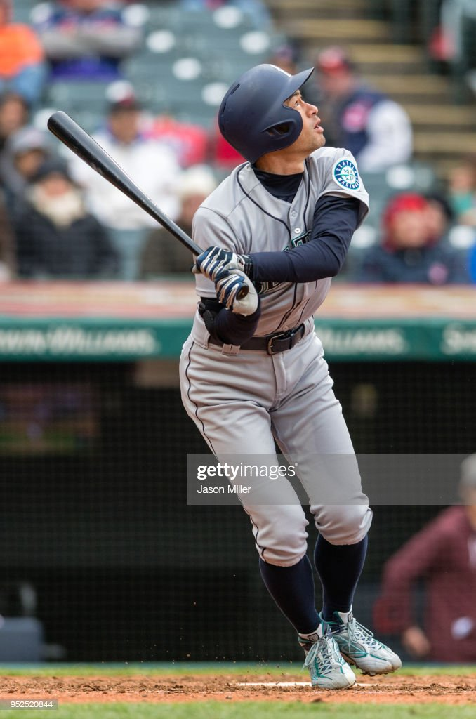 Ichiro Suzuki #51 of the Seattle Mariners flies out to the shortstop during the seventh inning against the Cleveland Indians at Progressive Field on April 28, 2018 in Cleveland, Ohio.