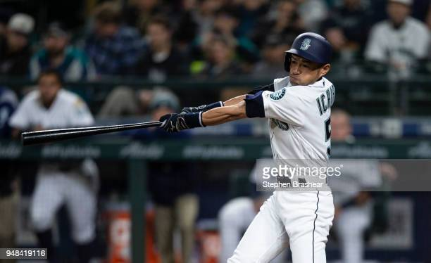 Ichiro Suzuki of the Seattle Mariners fouls off of pitch during the eighth inning of a game at Safeco Field on April 18 2018 in Seattle Washington...