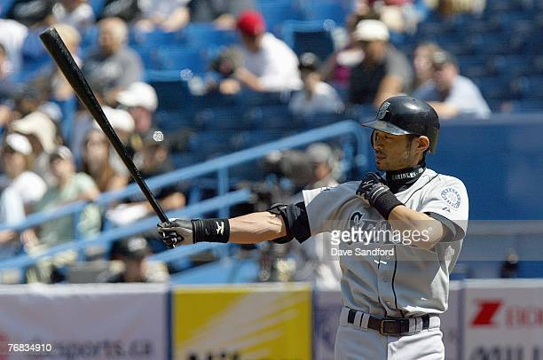 Ichiro Suzuki of the Seattle Mariners gets ready at bat against the Toronto Blue Jays at the Rogers Centre September 2 2007 in Toronto Ontario