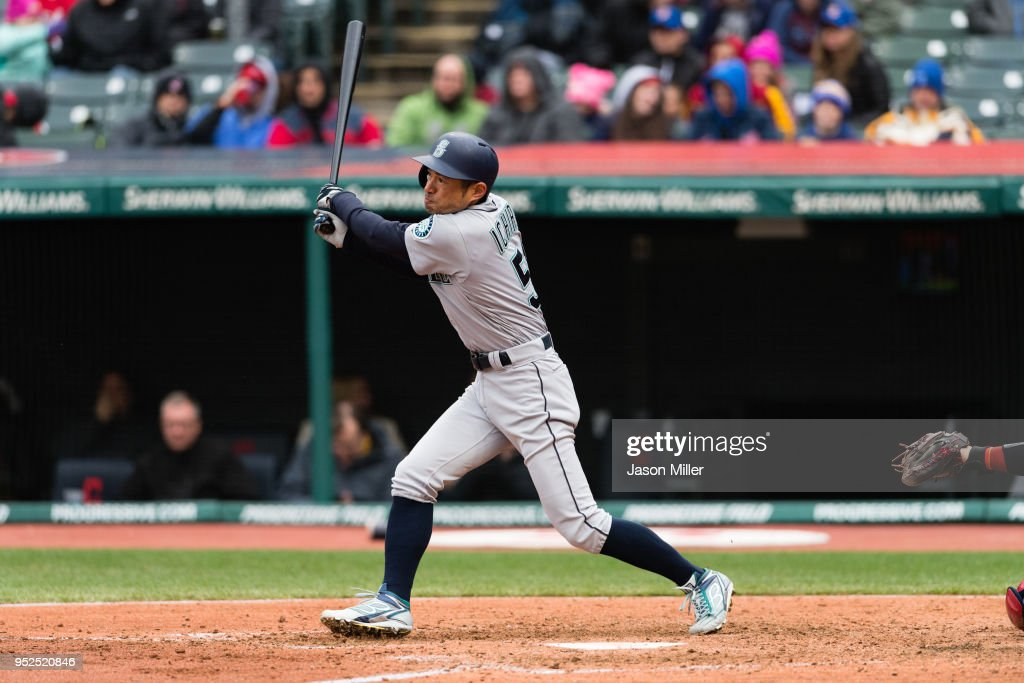 Ichiro Suzuki #51 of the Seattle Mariners grounds out during the fifth inning against the Cleveland Indians at Progressive Field on April 28, 2018 in Cleveland, Ohio.