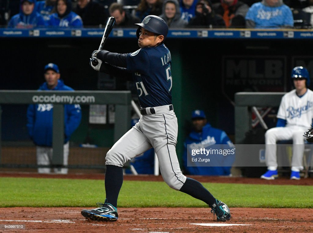 Ichiro Suzuki #51 of the Seattle Mariners grounds out in the third inning against the Kansas City Royals at Kauffman Stadium on April 9, 2018 in Kansas City, Missouri.