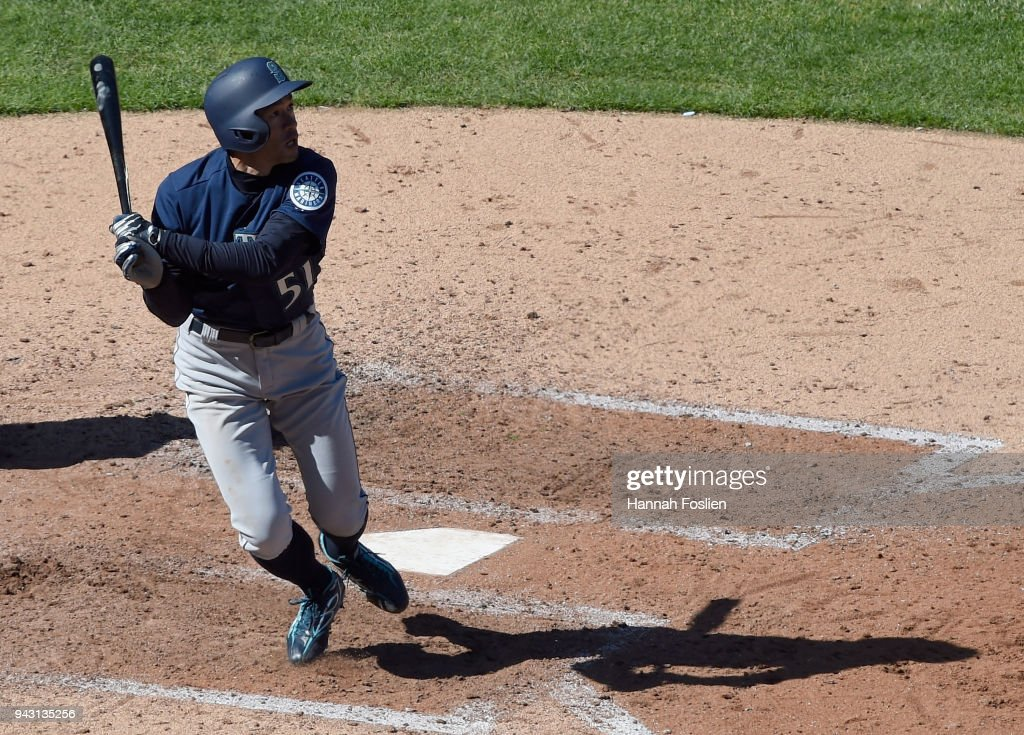 Ichiro Suzuki #51 of the Seattle Mariners hits a single against the Minnesota Twins during the seventh inning of the game on April 7, 2018 at Target Field in Minneapolis, Minnesota. The Mariners defeated the Twins 11-4.