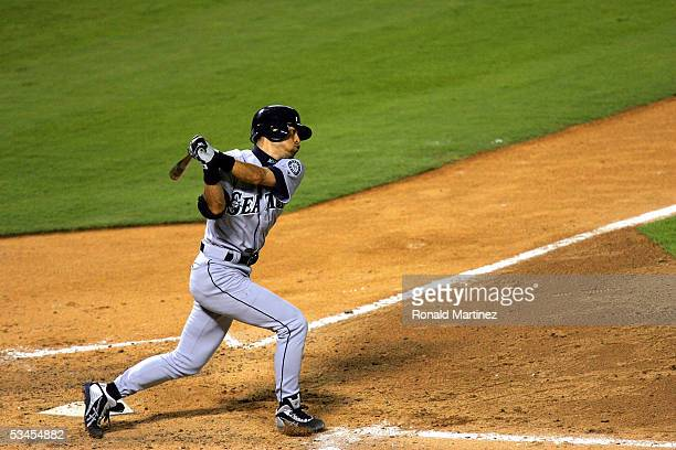 Ichiro Suzuki of the Seattle Mariners hits against the Texas Rangers on August 23 2005 at Ameriquest Field in Arlington in Arlington Texas