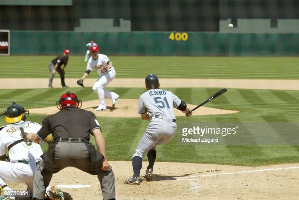 Ichiro Suzuki of the Seattle Mariners hits during the game against the Oakland Athletics at the Oakland Coliseum in Oakland California on May 25 2009...