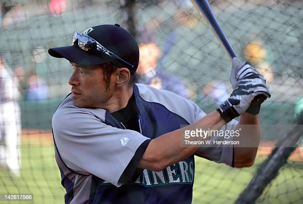 Ichiro Suzuki of the Seattle Mariners hitting during batting practice before the game against the Oakland Athletics at Oco Coliseum on April 6 2012...