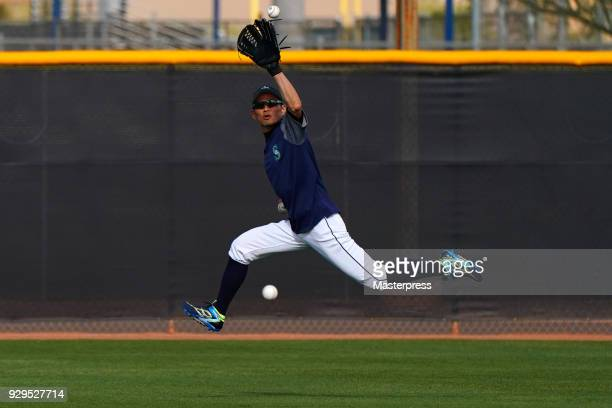 Ichiro Suzuki of the Seattle Mariners in action during a spring training on March 8 2018 in Peoria Arizona