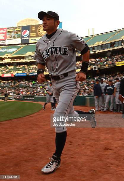 Ichiro Suzuki of the Seattle Mariners is introduced against the Oakland Athletic during an opening day game of Major League Baseball at the...