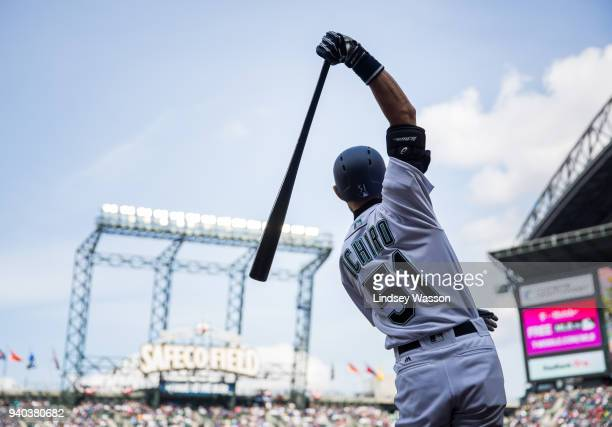 Ichiro Suzuki of the Seattle Mariners is on deck against the Cleveland Indians in the fourth inning at Safeco Field on March 31 2018 in Seattle...