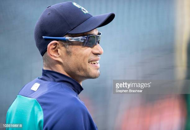 Ichiro Suzuki of the Seattle Mariners is pictured before a game against the Baltimore Orioles at Safeco Field on September 5 2018 in Seattle...