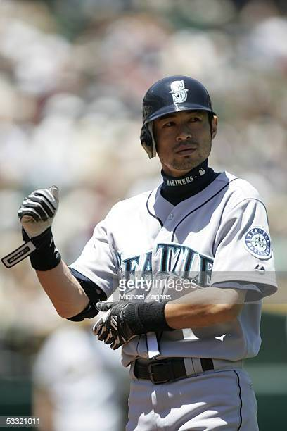 Ichiro Suzuki of the Seattle Mariners is pictured during the game against the Oakland Athletics at McAfee Coliseum on June 30, 2005 in Oakland,...