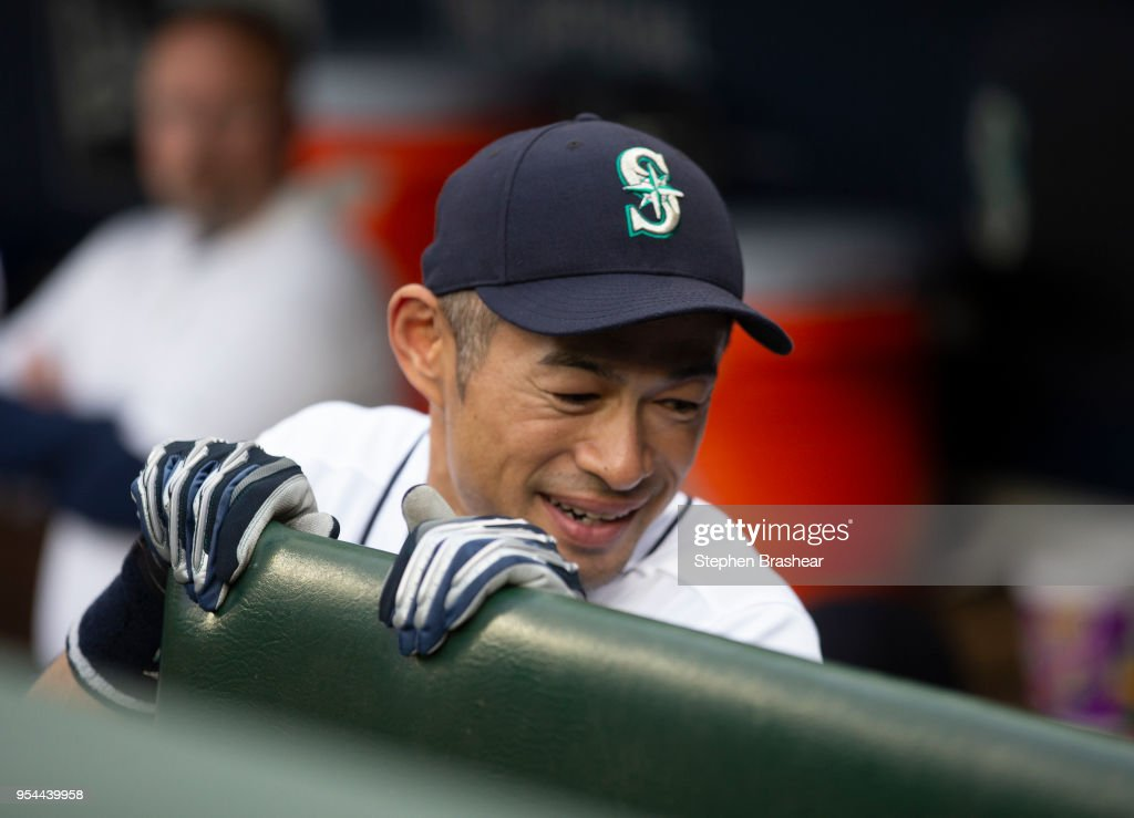 Ichiro Suzuki #51 of the Seattle Mariners is pictured in the dugout before a game against the Oakland Athletics at Safeco Field on May 3, 2018 in Seattle, Washington. The Mariners announced before the game that Ichiro would transition out of a playing role for 2018 and into the front office as a special assistant to the chairman, effective today. Ichiro's agent said that the 10-time All-Star is not retiring, leaving open the possibility of returning to the field in 2019, according to published reports.