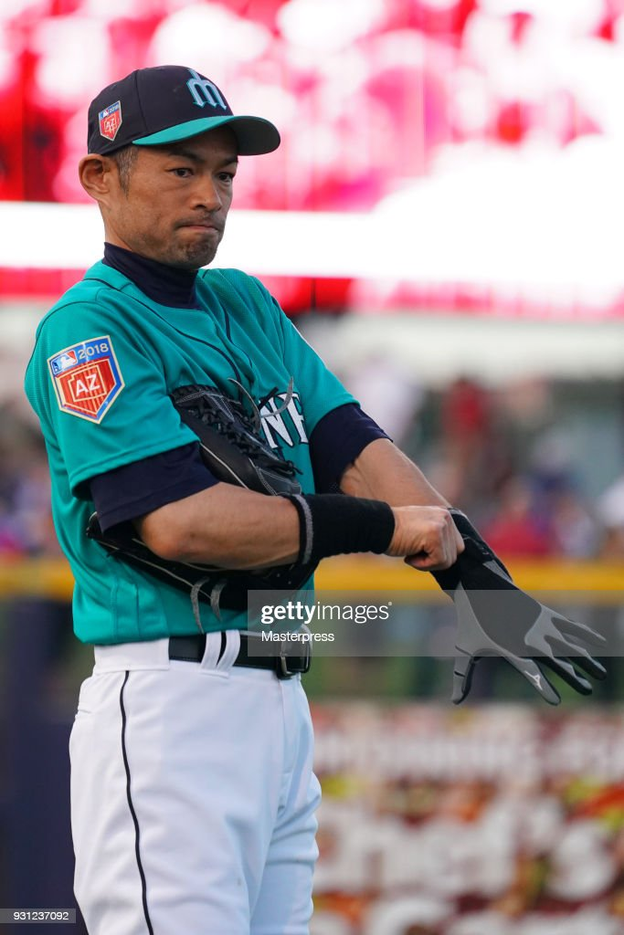 Ichiro Suzuki of the Seattle Mariners is seen during a spring training game between Seattle Mariners and Chicago White Sox on March 12, 2018 in Peoria, Arizona.