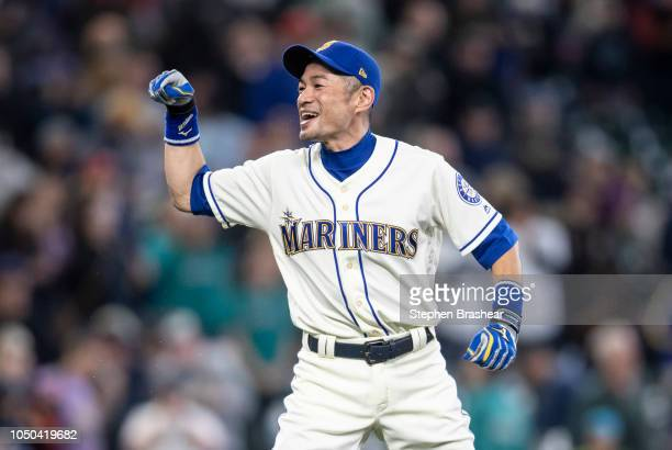 Ichiro Suzuki of the Seattle Mariners jokes around after a game against the Texas Rangers at Safeco Field on September 30 2018 in Seattle Washington...