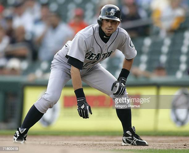 Ichiro Suzuki of the Seattle Mariners leads of first base after a ninth inning single against the Detroit Tigers on September 6, 2006 at Comerica...