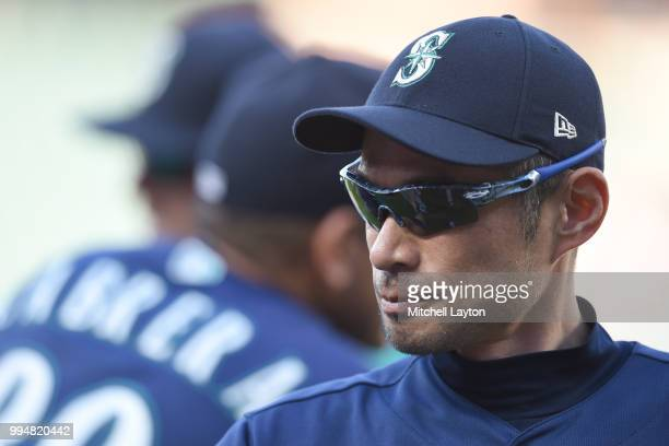 Ichiro Suzuki of the Seattle Mariners looks on after a baseball game against the Baltimore Orioles at Oriole Park at Camden Yards on June 28 2018 in...