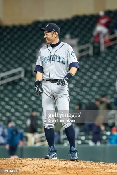Ichiro Suzuki of the Seattle Mariners looks on against the Minnesota Twins on May 14 2018 at Target Field in Minneapolis Minnesota The Mariners...