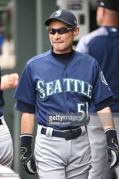 Ichiro Suzuki of the Seattle Mariners looks on before a baseball game against the Baltimore Orioles at Oriole Park at Camden yards on June 28 2018 in...