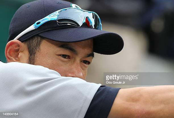 Ichiro Suzuki of the Seattle Mariners looks on during batting practice prior to the game against the Chicago White Sox at Safeco Field on April 20...